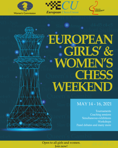 "Poster for European Chess Weekend. Visible is a big queen (chess piece) on dark background with a slogan in big letters ""European Girls' and Women's Chess Weekend"""